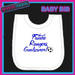 RANGERS FOOTBALL WHITE BABY BIB EMBROIDERED - 160545396309